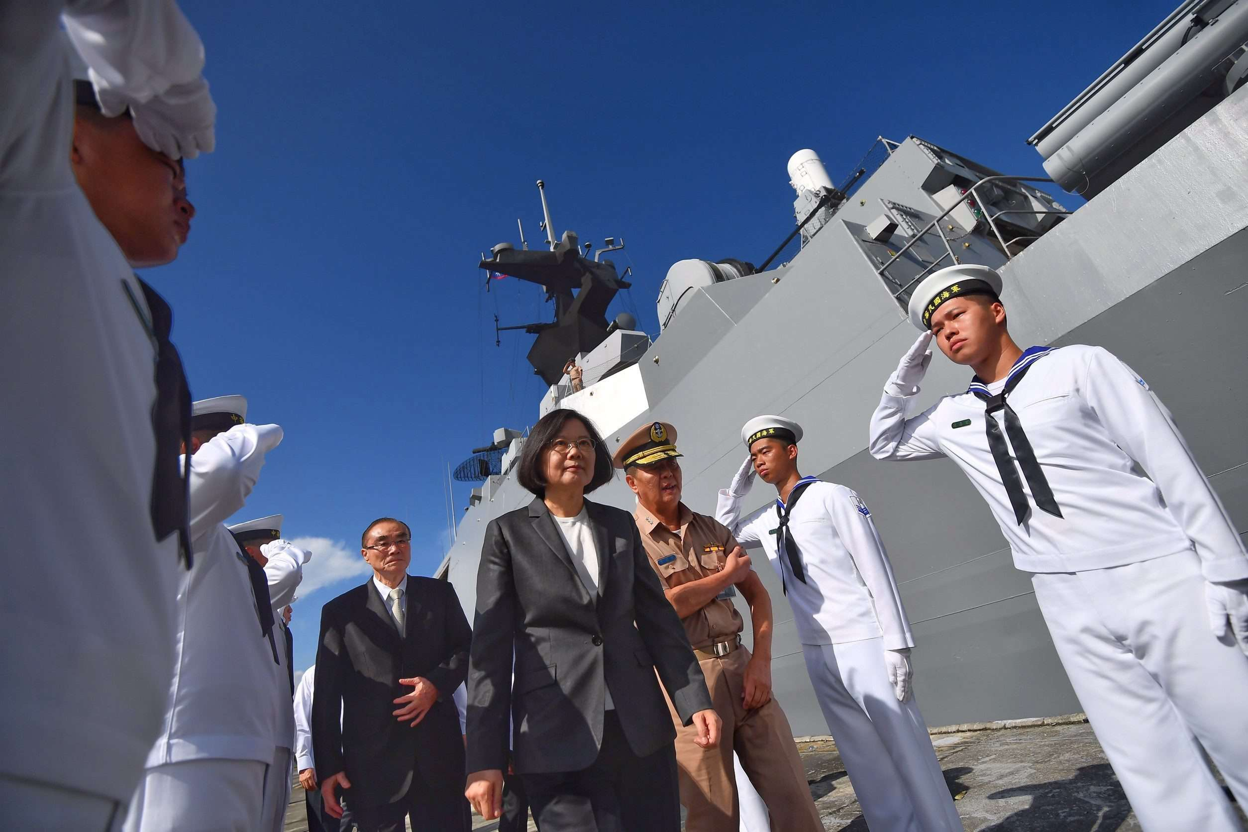 Tsai Ing-wen tells warship crew to defend Taiwan's interests as they