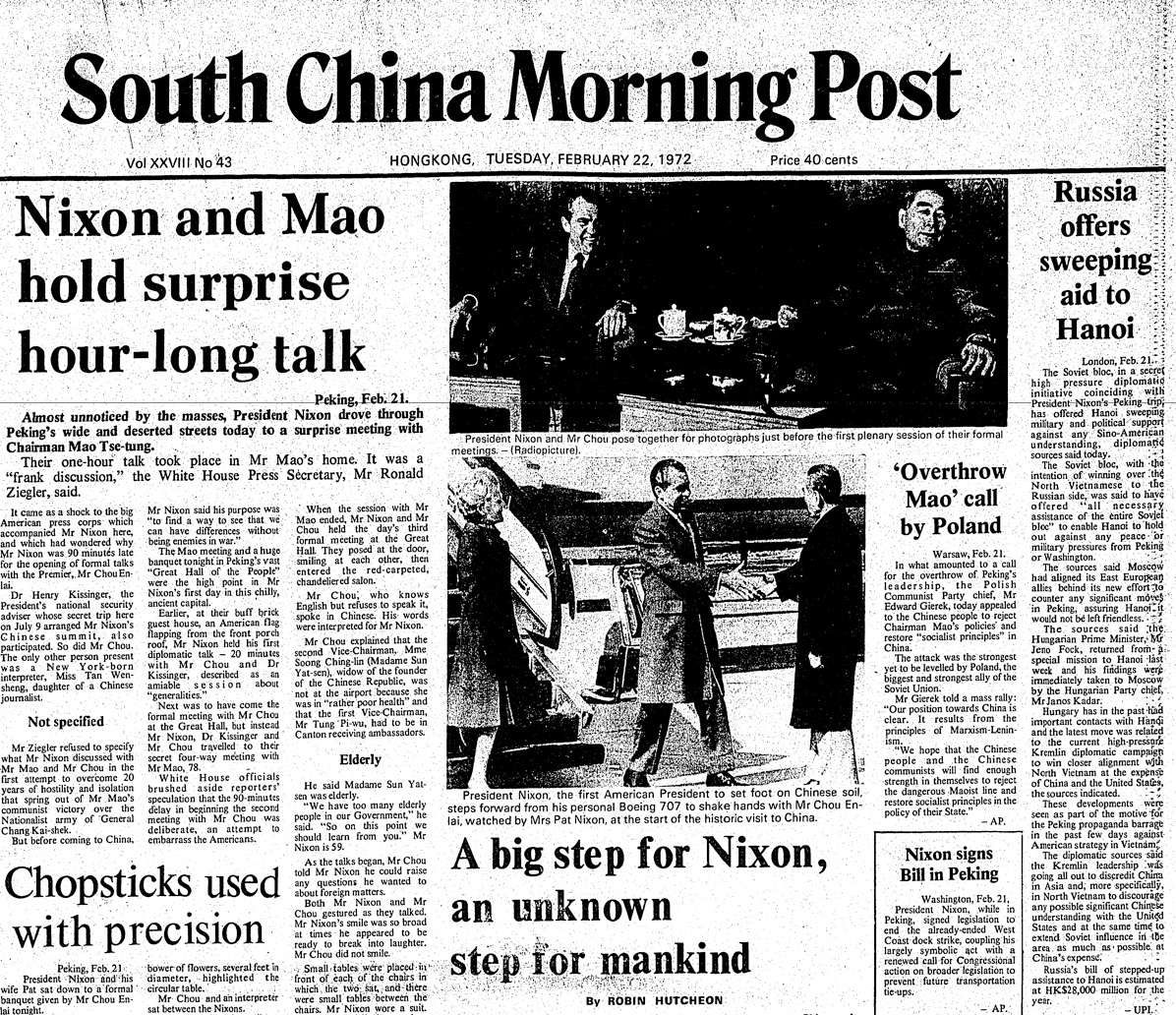 Image result for president nixon first visit to china newspaper articles