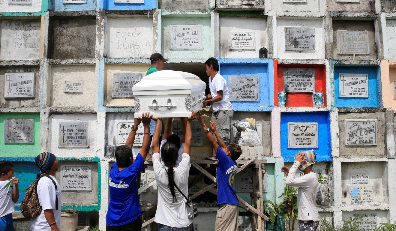 War on drugs in Cambodia - Mourners lift up the coffin of a victim of Duterte's drug war, which has killed more than 7,000 people. Photo: Reuters