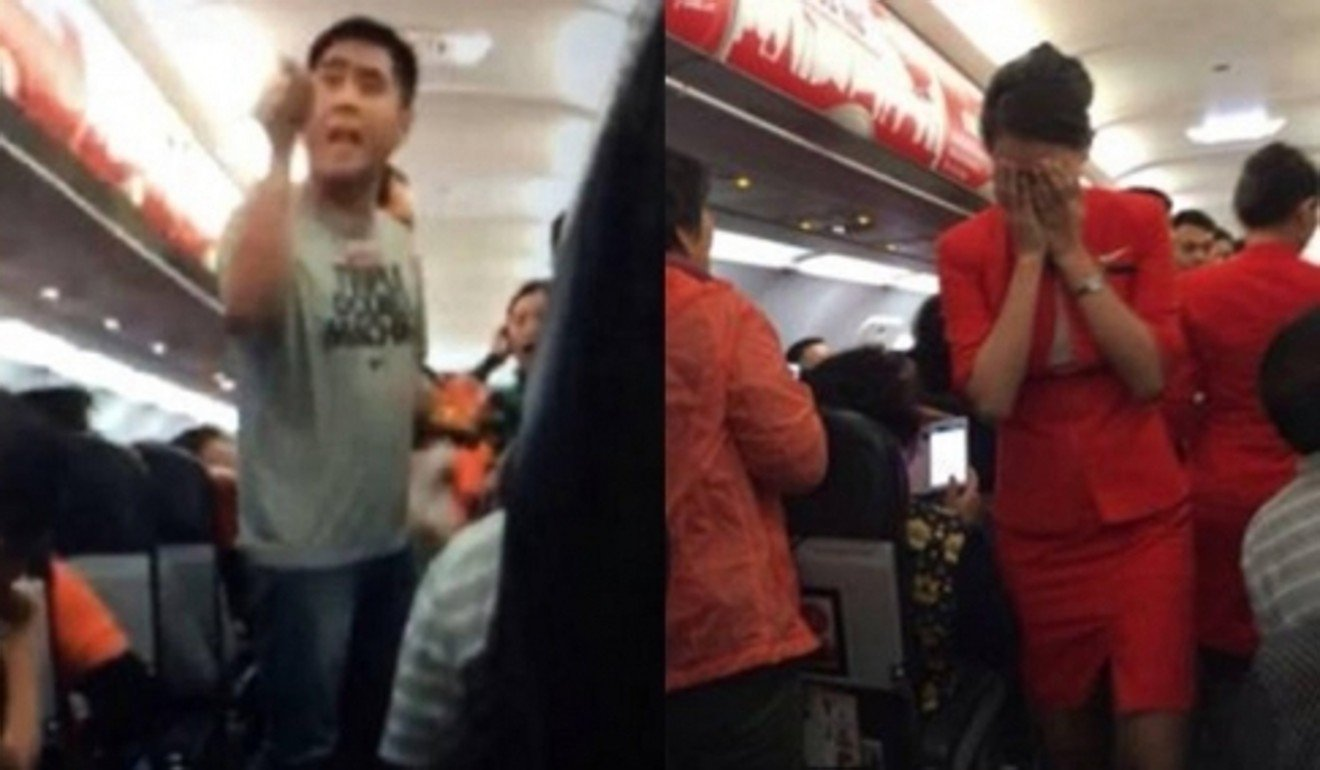 A passenger yells at staff; an air hostess is reduced to tears.