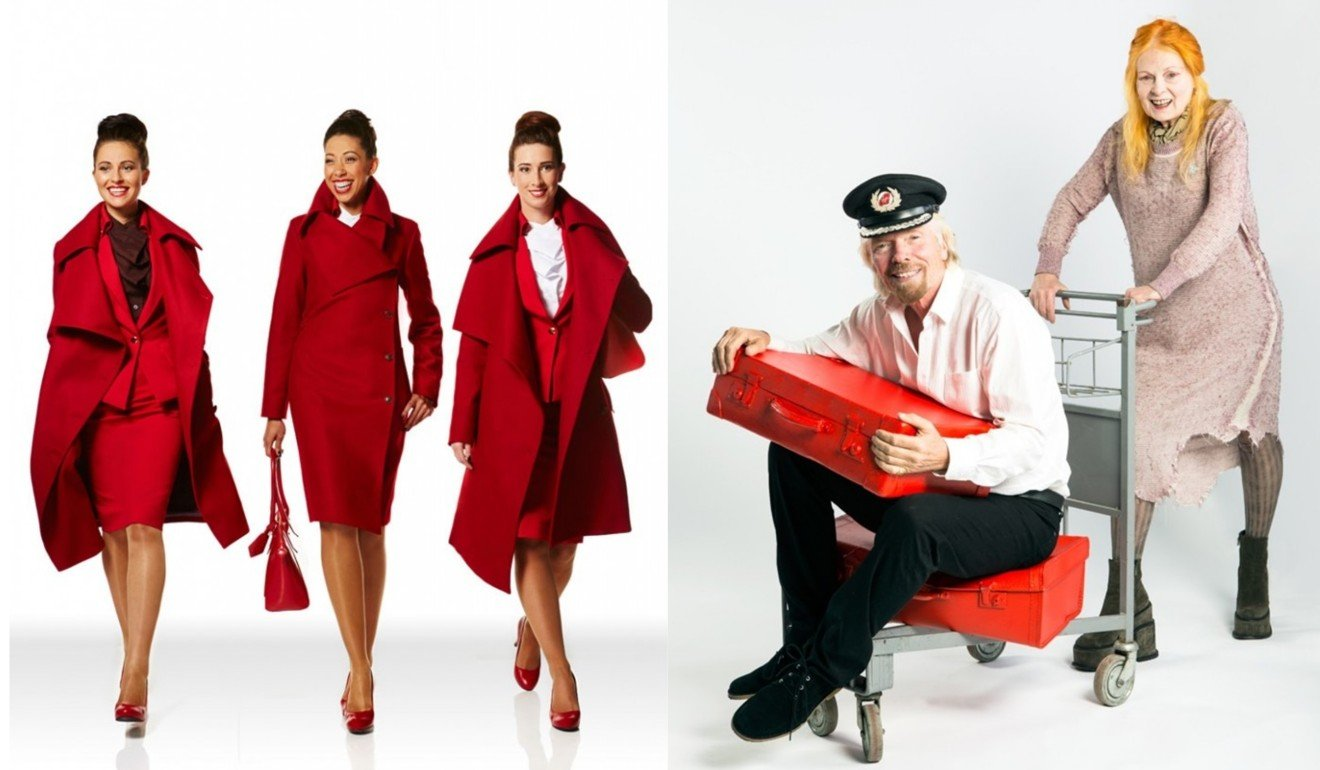 (Left) the iconic Virgin red uniform; (right) Virgin founder Richard Branson and designer Vivienne Westwood.