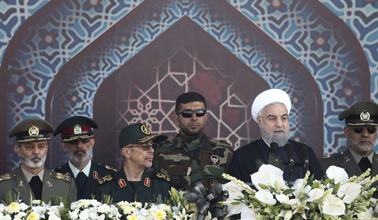 Iran's President Hassan Rowhani addresses the military parade in the  country's capital Tehran. Photo: AP