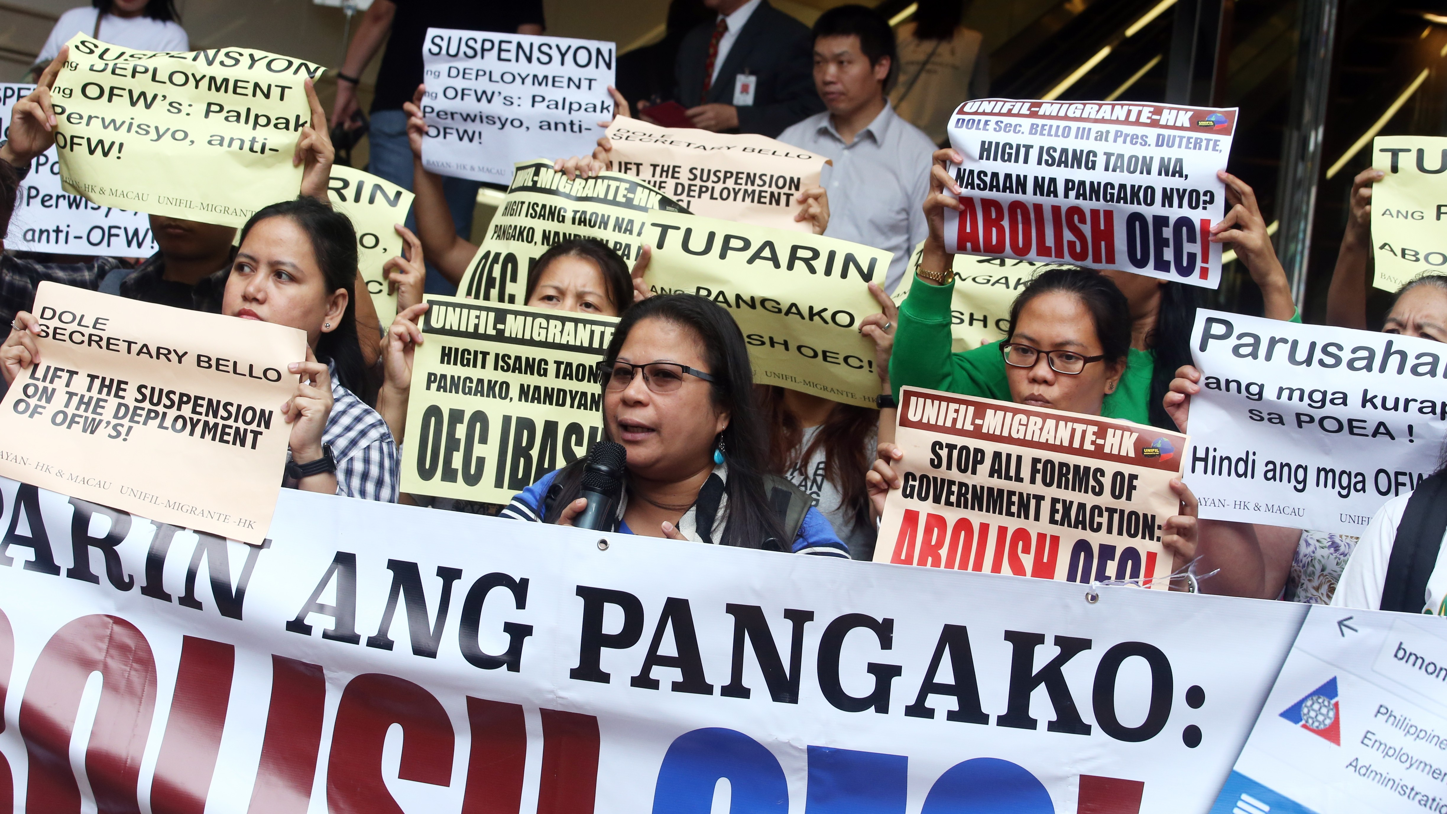 Domestic helpers union stages rally outside Philippine