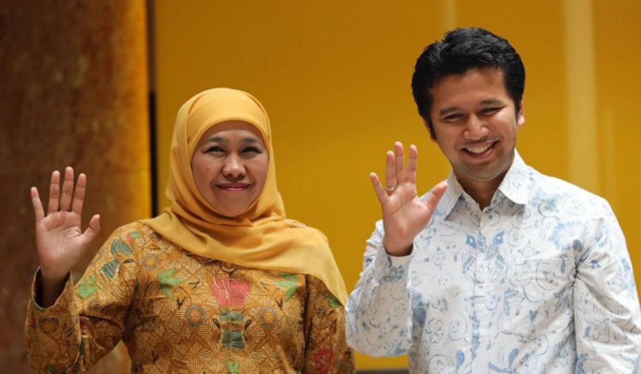 Khofifah Indar Parawansa, left, is the running mate for Emil Dardak in East Java. Photo: Ceritalah