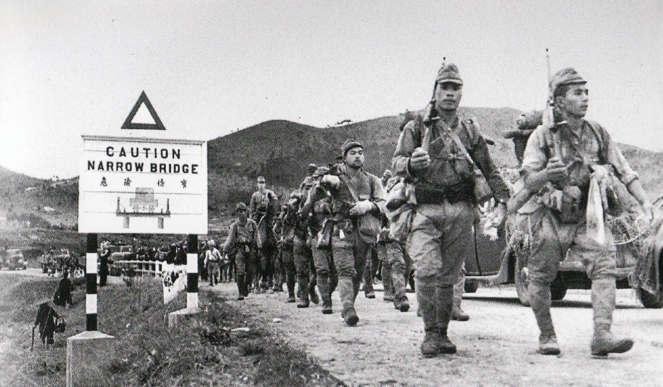 Japanese troops enter Hong Kong via the Shenzhen River, in December 1941.  Picture: Alamy