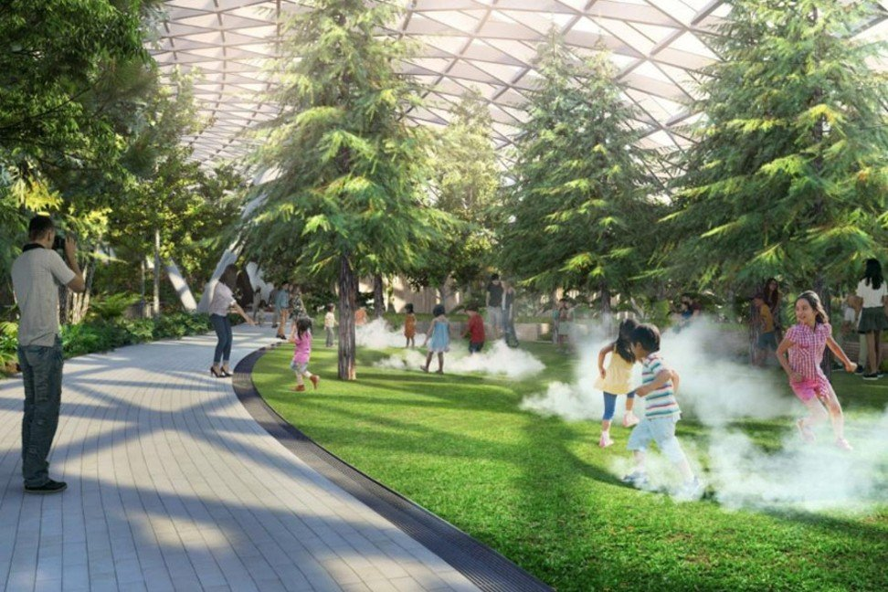 Children will be thrilled take a 'walk among the clouds' thanks to mist machines in the park area of Canopy Park at Jewel Changi.