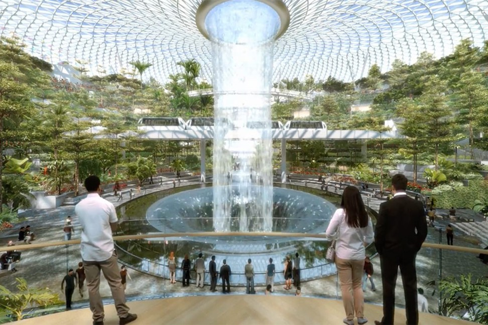Jewel Changi will feature the 40-metre-high Rain Vortex, the world's tallest indoor waterfall.