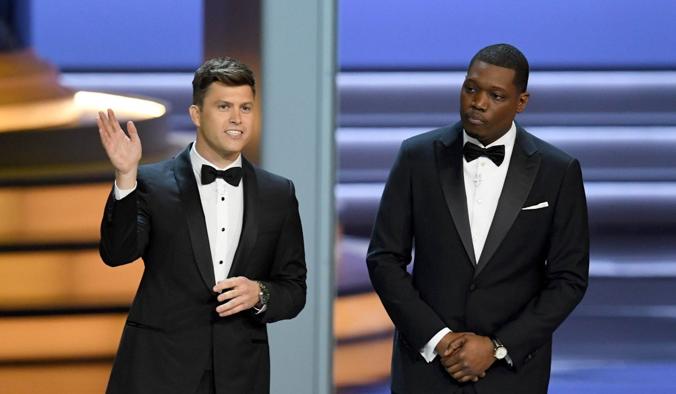 Hosts Colin Jost (left) and Michael Che during the 70th Emmy Awards. Photo   Agence France-Presse.   63306f543a9f