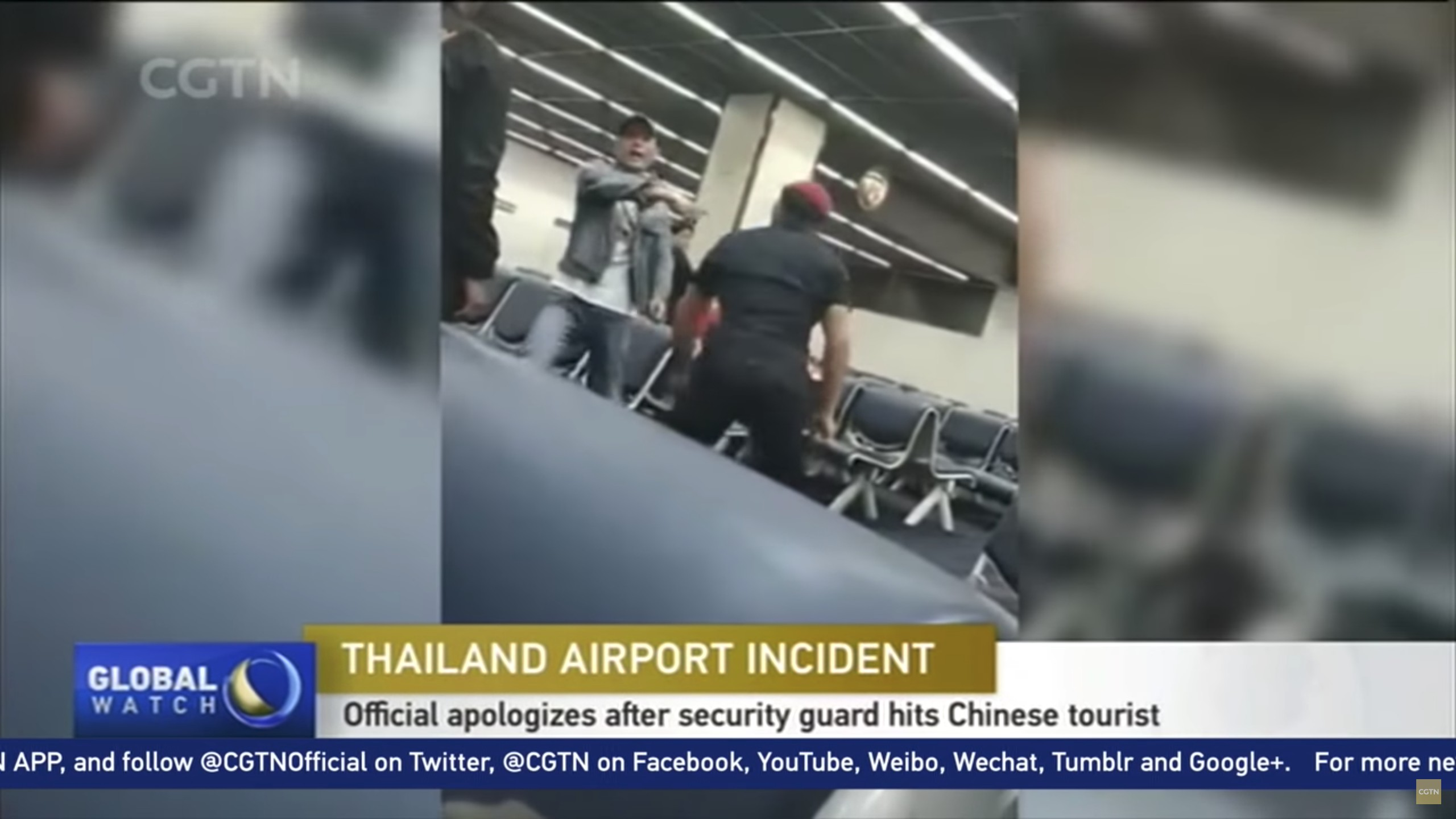 Video captures Thai airport security guard hitting Chinese