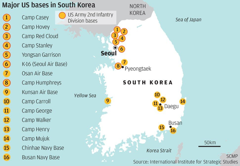 Us Investigates Three South Korean Companies Over Conspiracy To - Us-army-bases-in-korea-map