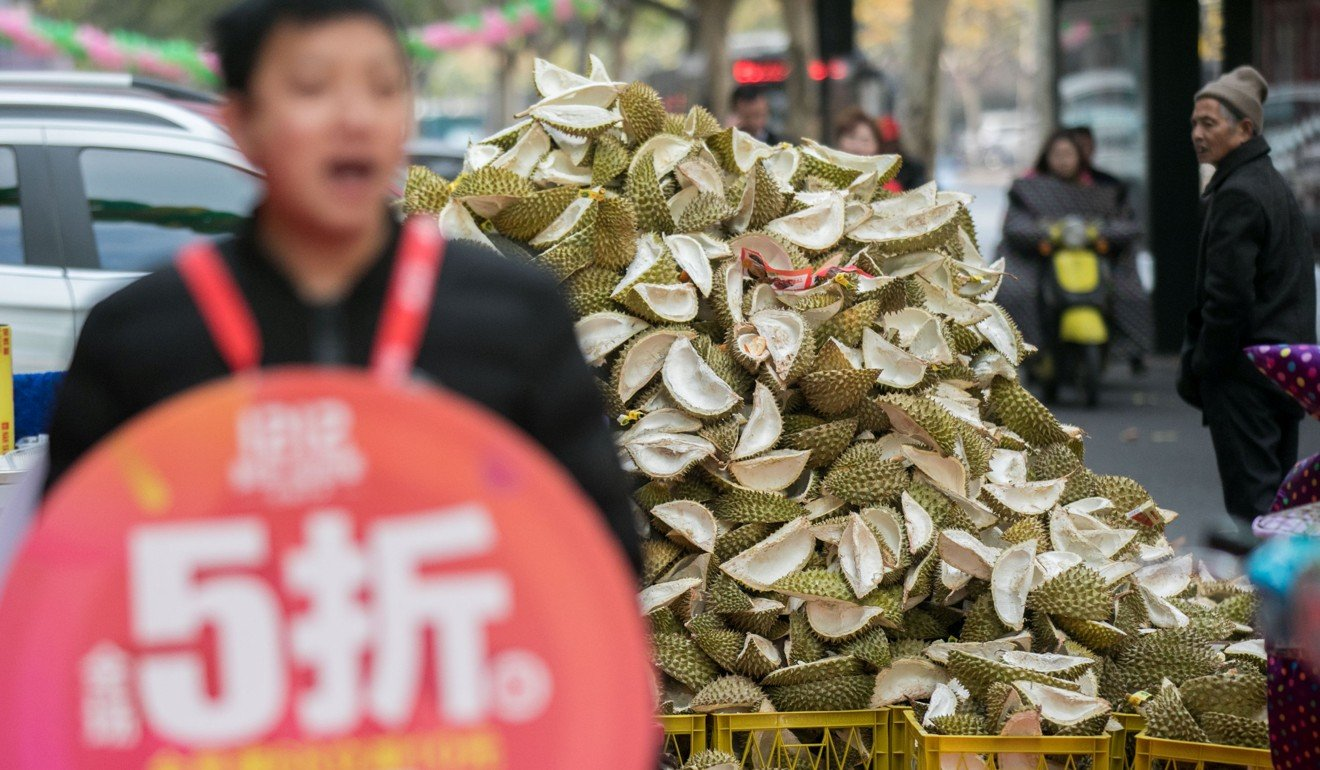 A mound of durian husks outside a fruit store during a shopping festival sale, in Hangzhou, Zhejiang Province, China. Image: Reuters