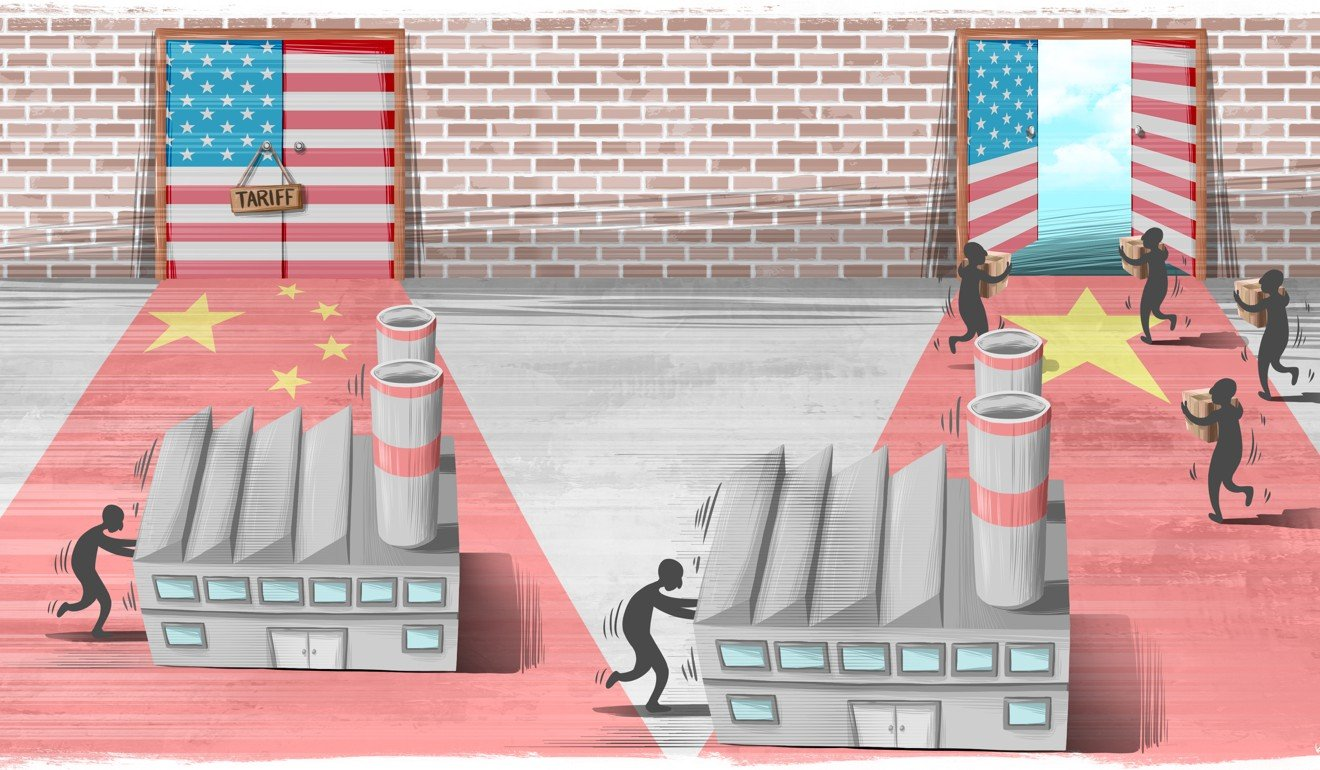 Companies with factories in China are racing to relocate ... and intermediary firms are eager to help. Illustration: Lau Ka-kuen