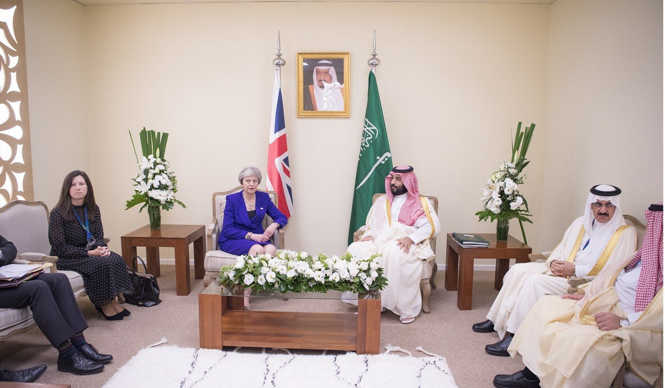 British Prime Minister Theresa May and Prince Mohammad bin Salman during their meeting in Buenos Aires. Photo: EPA