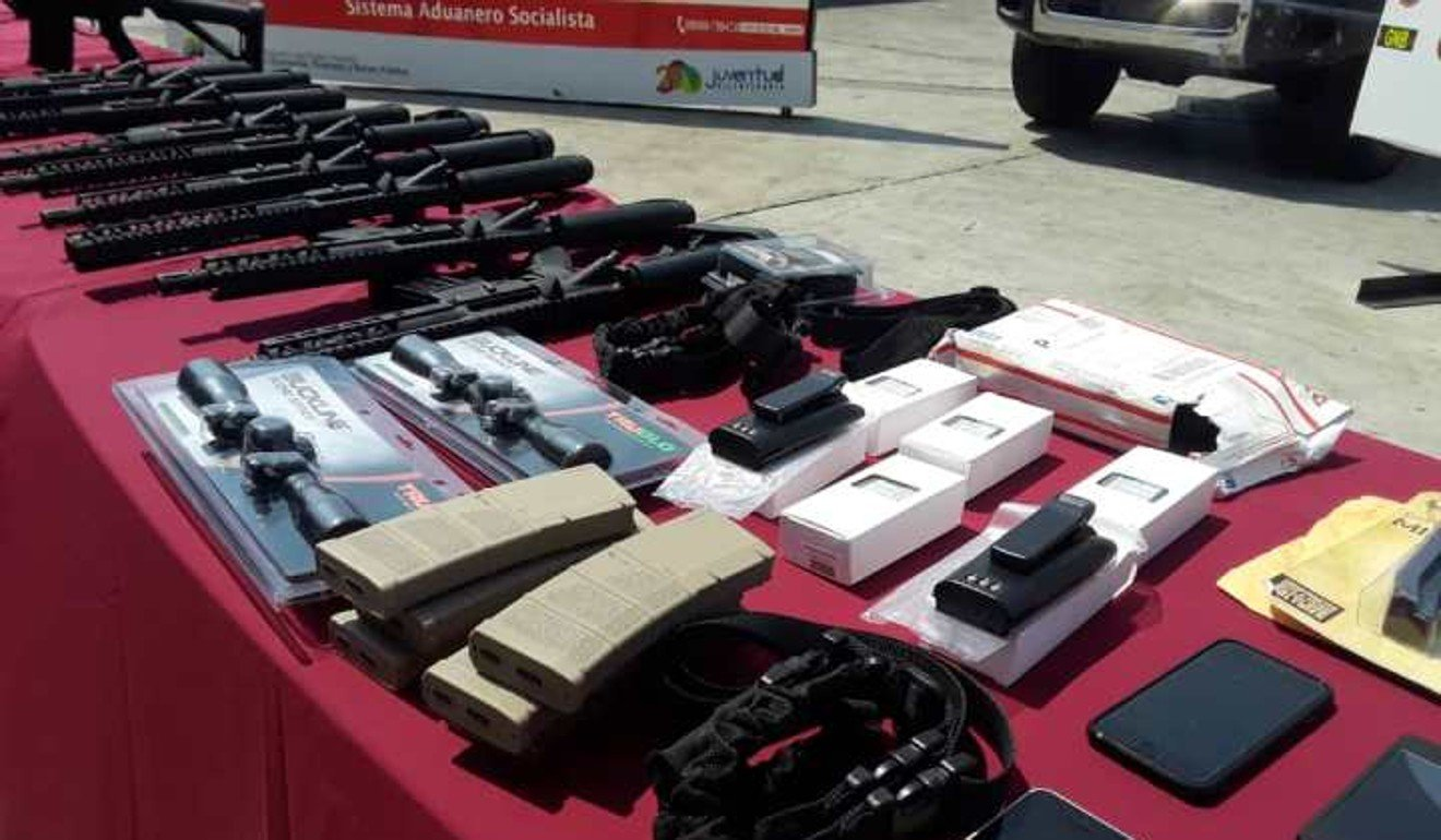 The weapons intercepted at Arturo Michelin airport in Venezuela from Miami on February 3, 2019. Photo: Venezuela Ministry of Interior, Justice and Peace.