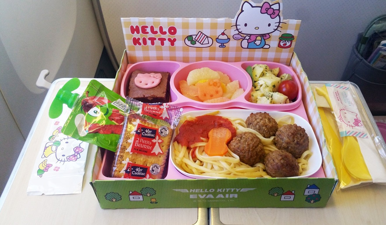 Eva Air's Hello Kitty kid's meal. Photo: Nik Loukas