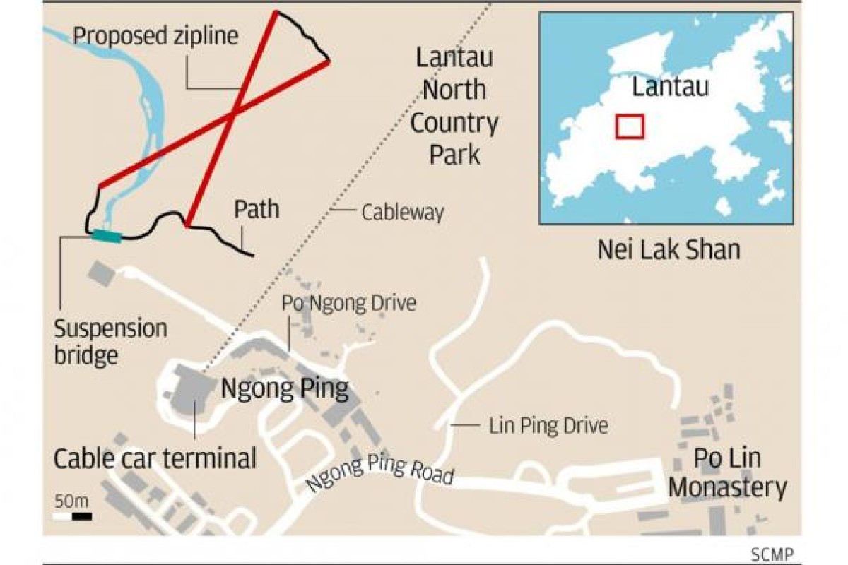Proposed Flying Fox zipline attraction for North Lantau is