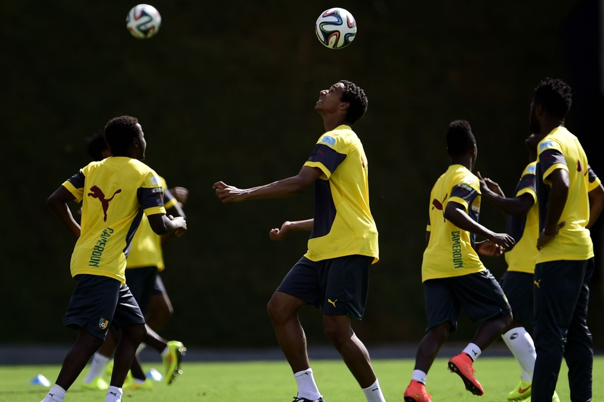 e110e9d28d2 Cameroon s players take part in a training session at the Kleber Andrade  stadium in Vitoria.