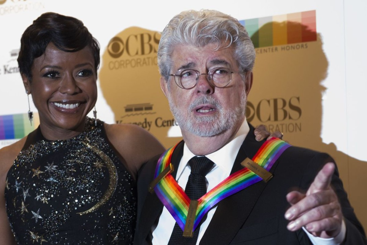5233dd5ecdfb Kennedy Centre 2015 Honoree George Lucas and his wife Mellody Hobson pose  on the red carpet