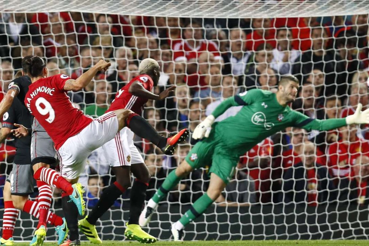 4bb5aea08 Manchester United s Zlatan Ibrahimovic scores his team s first goal in the  2-0 win over