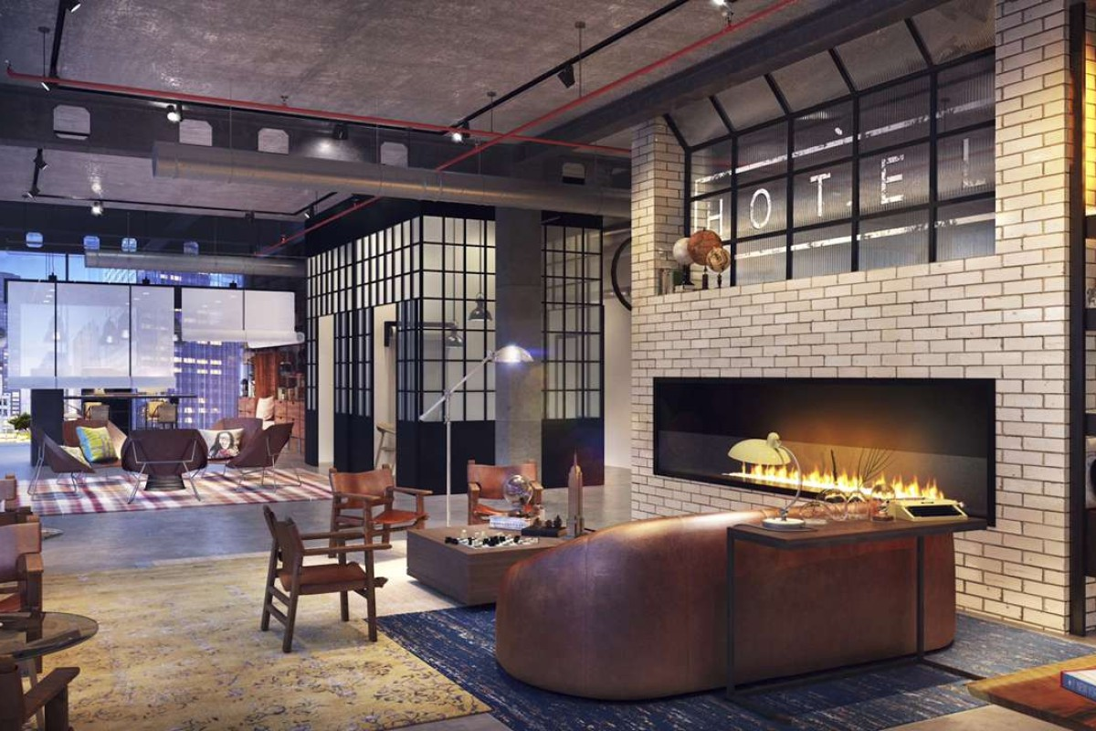 The lobby of Moxy New Orleans, Louisiana, a new hotel brand from Marriott tailored to young travellers. Photo courtesy Moxy.