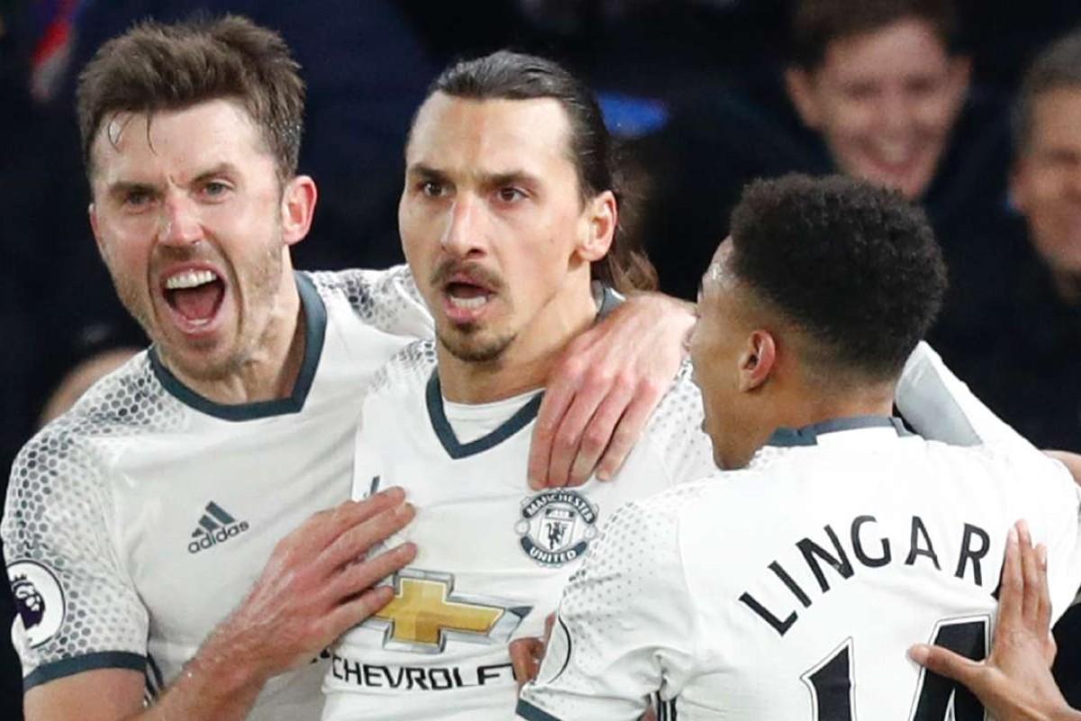 668fe6f6026 Manchester United s Swedish striker Zlatan Ibrahimovic (2L) celebrates  scoring their second goal. AFP