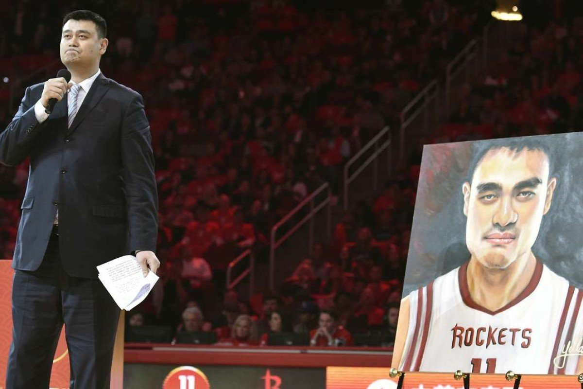 newest ddcf8 e4ffb Yao Ming honoured in Houston as Rockets retire his jersey ...