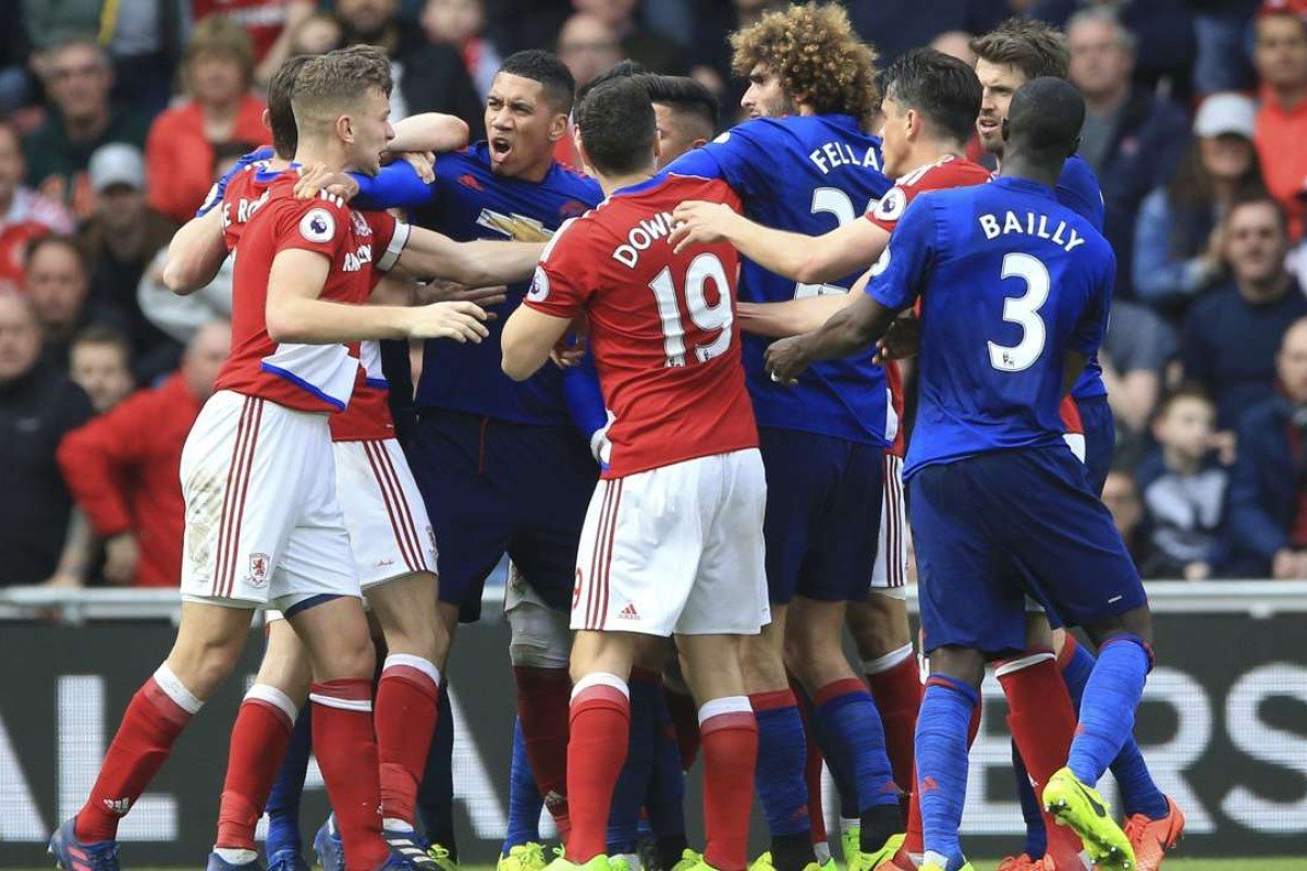 3e077d886 Tempers flare between Middlesbrough and Manchester United players during  their English Premier League match at Riverside