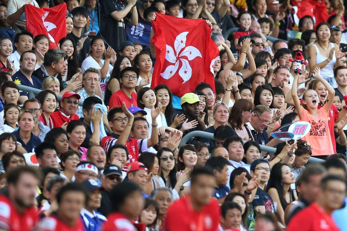 73fbfba71e2 Hong Kong fans cheer during Asia Rugby Sevens Qualifier Pools at Hong Kong  Stadium