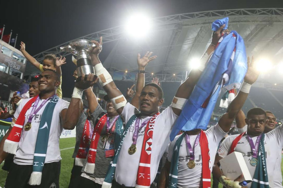 b2514e818 Fiji celebrate their victory against South Africa at the 2017 Hong Kong  Sevens. Photo:
