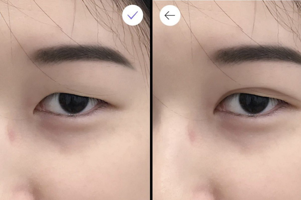 An image of reporter viola zhou taken on smartphone app makeupplus shows a before
