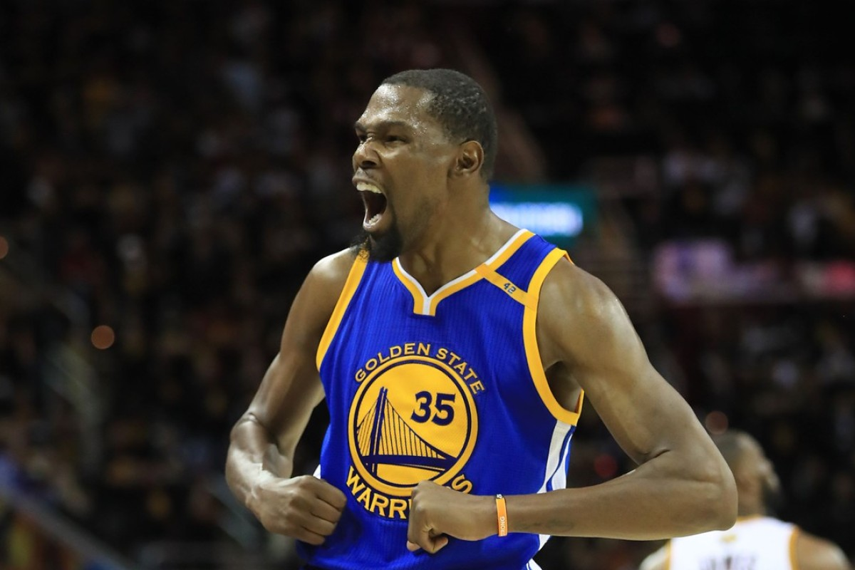 7bd81da0e3e1 Kevin Durant of the Golden State Warriors reacts against the Cleveland  Cavaliers during the second half