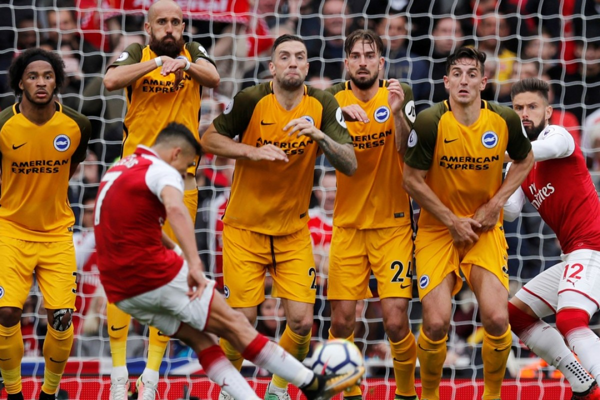 d375a6381 Arsenal s Alexis Sanchez shoots at goal from a free kick during the 2-0 win