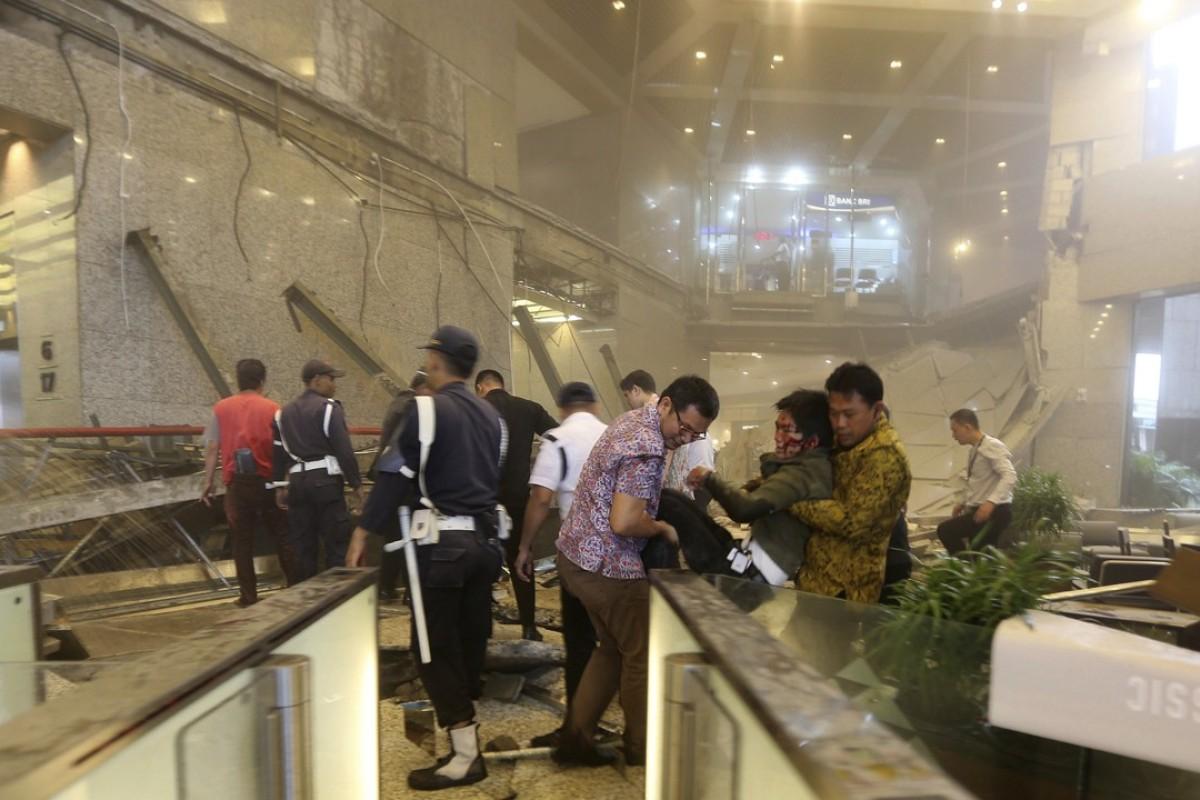 Floor at Indonesia stock exchange collapses around Starbucks
