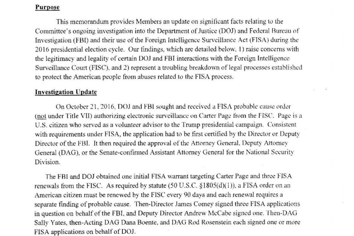 Read the shocking Republican memo on 'FBI con' that