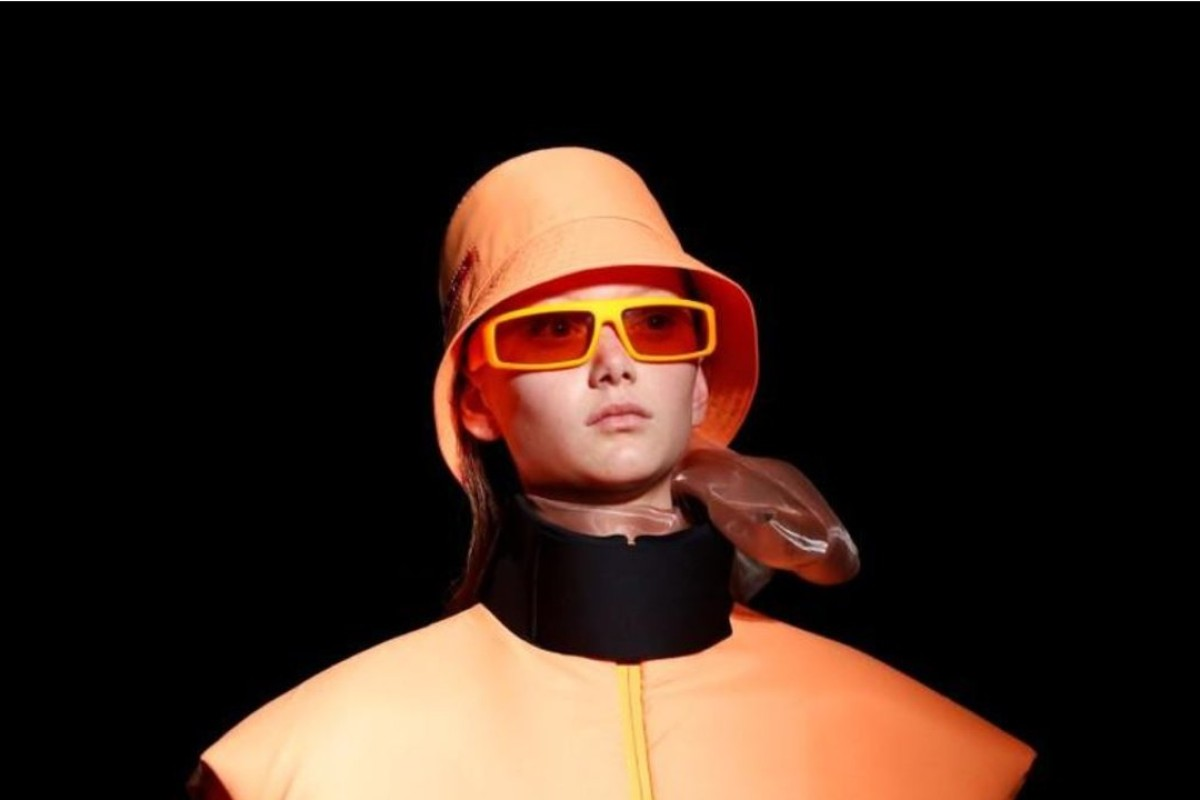 4669b3f3fcc0 A model presents a creation from Prada's autumn/winter 2018 women collection  during Milan Fashion