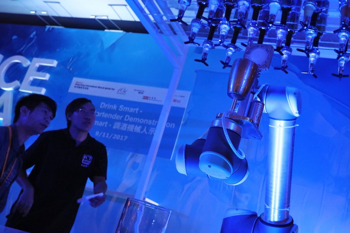 Drink Smart, the robotic bartender, being demonstrated in a preview at the International Wine & Spirits Fair in Hong Kong in November. Photo: Felix Wong