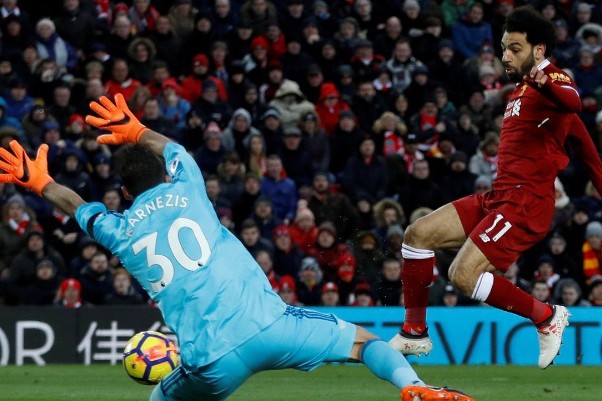 d2031653a6a Liverpool's Mohamed Salah scores their second goal of four against Watford.  Photo: Reuters