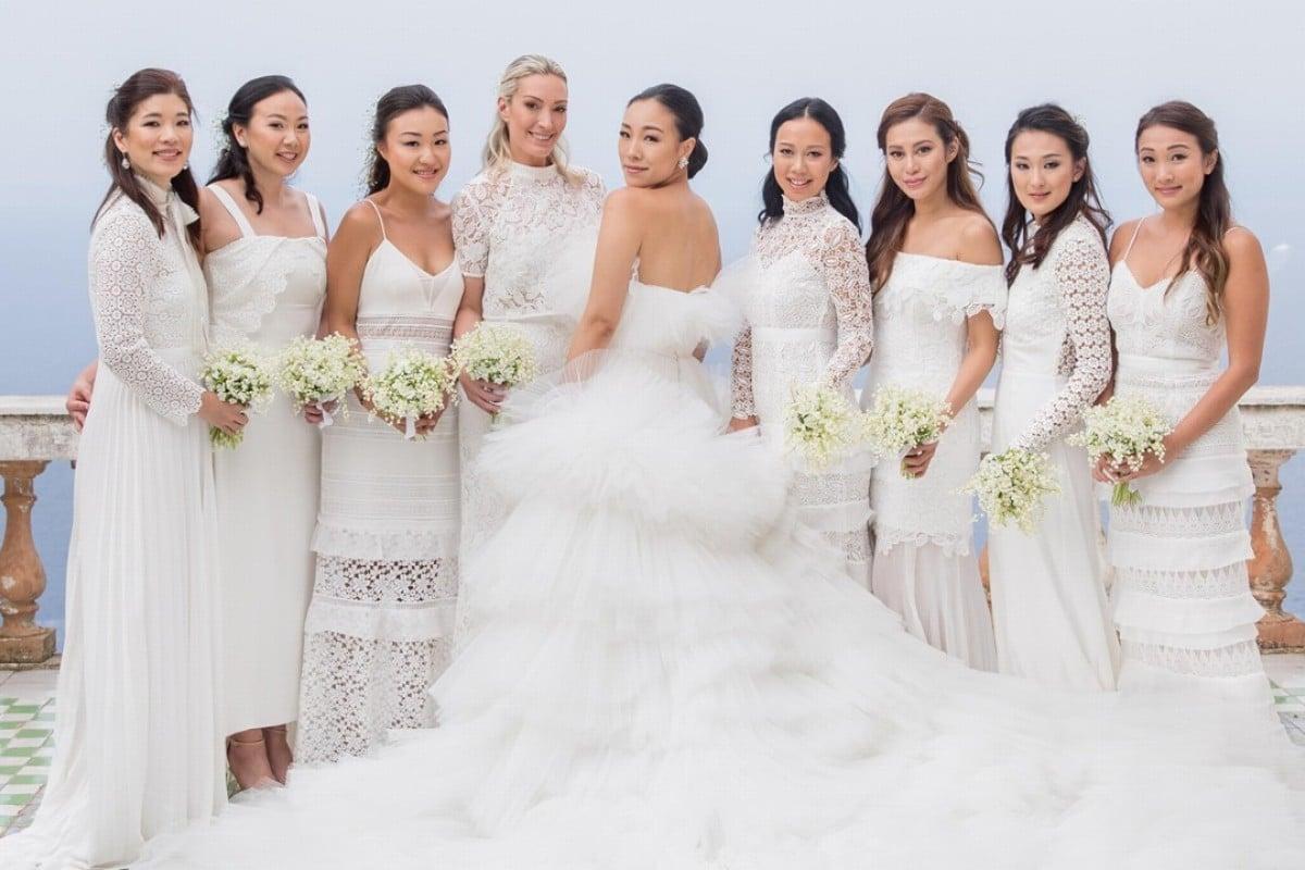 9a3dde3da1 Hong Kong bride Feiping Chang choose various styles of bridesmaid dresses  designed by friend and Self