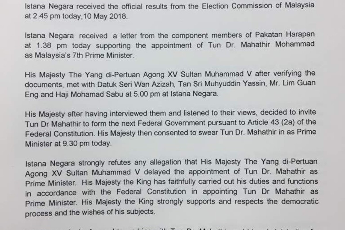 Malaysia election: Mahathir sworn in as prime minister