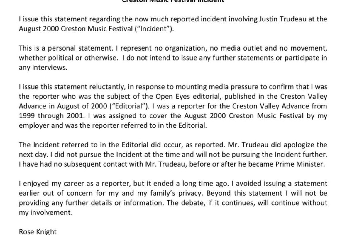 Justin Trudeau 'apologised after groping me' says ex