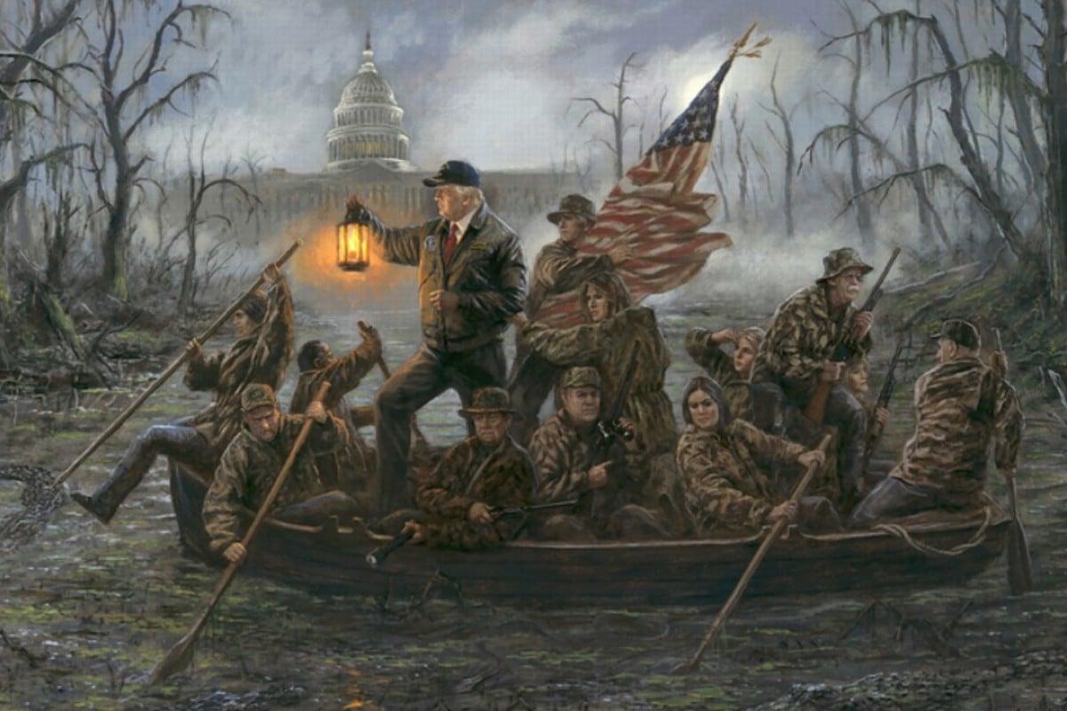 George Washington Christmas Meme.Painting Of Donald Trump Crossing The Swamp Makes A Splash