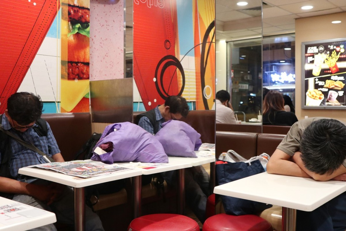 Number of people sleeping in Hong Kong McDonald's branches