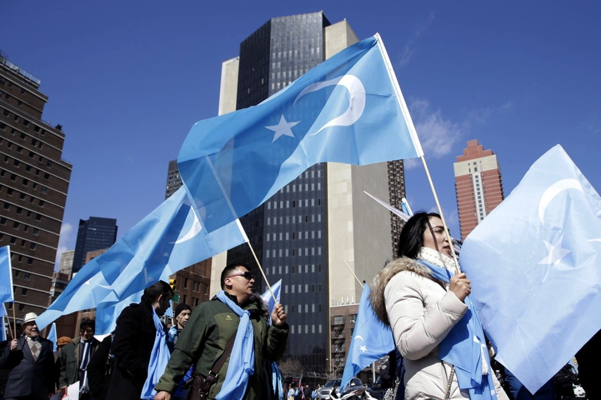 Uygurs and their supporters march near the United Nations in New York on March 15. Members of the Uygur Muslim ethnic group held demonstrations in cities around the world on that day to protest a sweeping Chinese surveillance and security campaign that has sent thousands of their people into detention and political indoctrination centers. Photo: AP