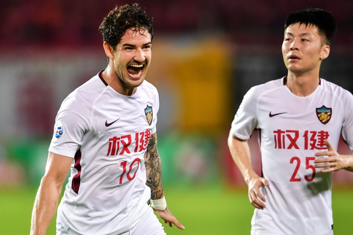 92ed9c489bc Tianjin Quanjian s Alexandre Pato (10) celebrates after scoring during the  2018 AFC Champions League