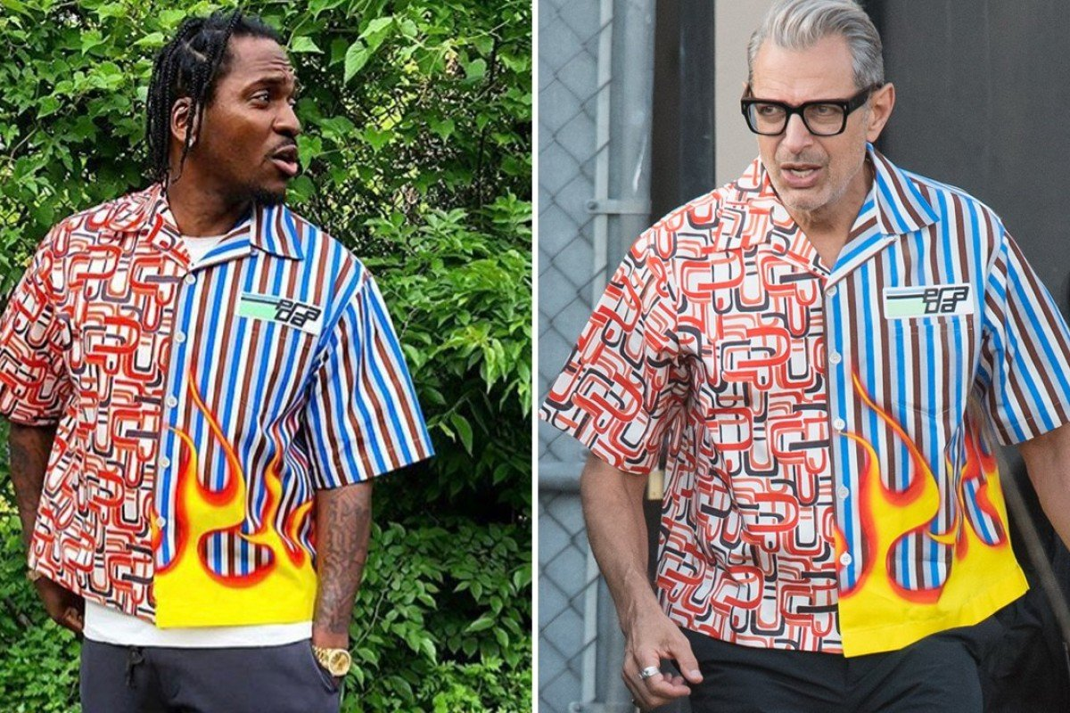 802adc30 Prada's 'ugly' flame shirt: who wore it better, Jeff Goldblum or ...