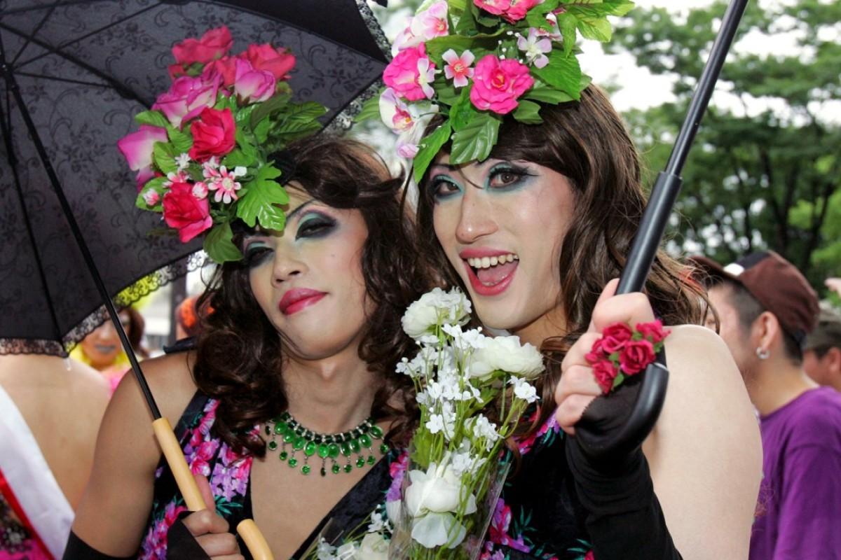 Drag queens at the Tokyo Lesbian and Gay Parade. Photo: AP