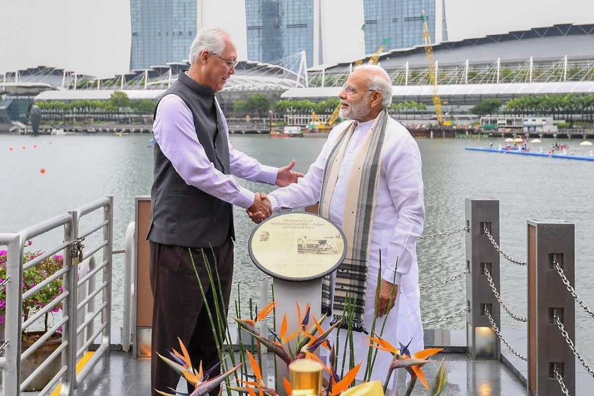 Singapore's former PM Goh Chok Tong and Indian PM Narendra Modi in Singapore in June 2018. Photo: AFP