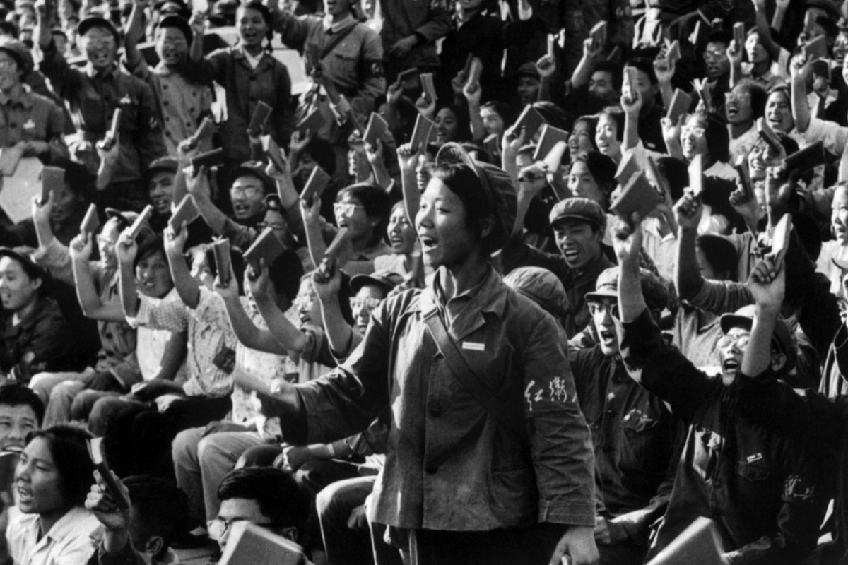 d6443e249 Red Guards and students stage a rally on a Beijing street in September 1966  to spread