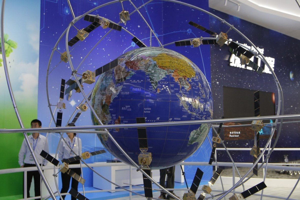 A model of the Beidou navigation satellite system on display at the Zhuhai air show earlier this month. Photo: AP