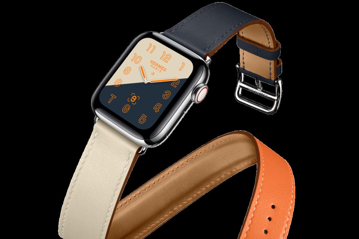 2f428db5d The iconic Hermès Double Tour orange, craie (chalk) and indigo leather strap ,